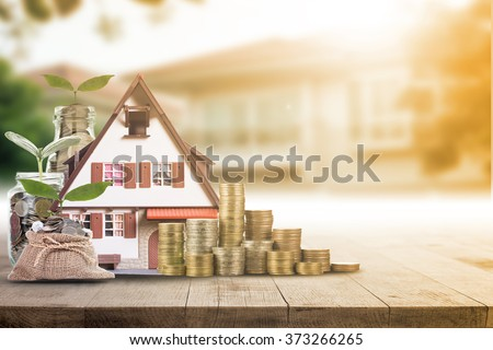 Mortgage loading real estate property with loan money bank concept.
