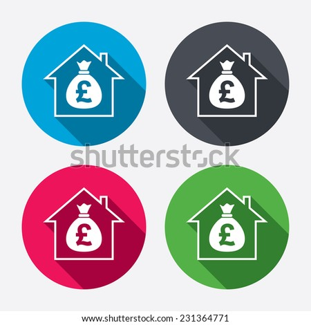Mortgage sign icon. Real estate symbol. Bank loans. Circle buttons with long shadow. 4 icons set. - stock photo