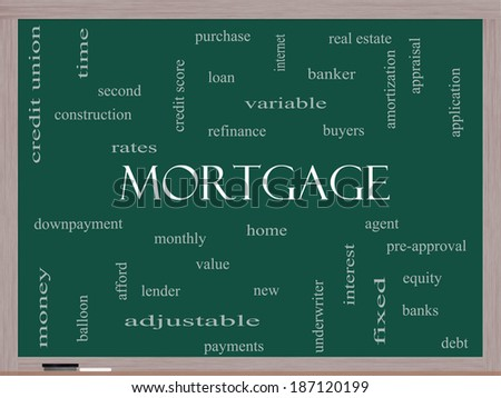 Mortgage Word Cloud Concept on a Blackboard with great terms such as loan, home, banker and more. - stock photo