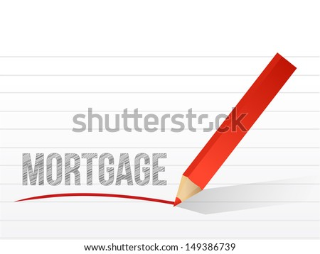mortgage written on a notepad paper. illustration design