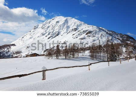 Mortirolo Pass at 1949 meters on the sea-level, after a fall snowfall. Brixia province, Lombardy region, Italy