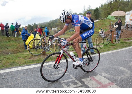 MORTIROLO, SONDRIO, ITALY - MAY 28: Samoilau Branislan during the 19th stage of 2010 Giro d'Italia on May 28, 2010 on Mortirolo's climb, Sondrio, Italy