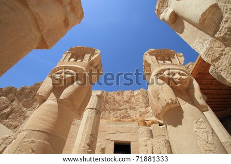 Mortuary temple of Queen Hapshepsut, one of the few female pharaohs,near Luxor (Thebes), Egypt - stock photo