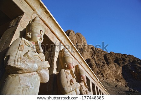 Mortuary Temple of Queen Hatshepsut (Deir Al-Bahri), West Bank of the Nile Valley, Luxor, Egypt - stock photo