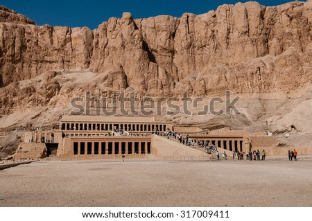 Mortuary temple of Queen Hatshepsut.near Luxor in Egypt. - stock photo
