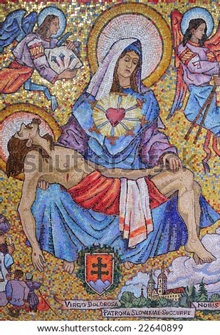 mosaic art from the annunciation church in Nazareth, Israel