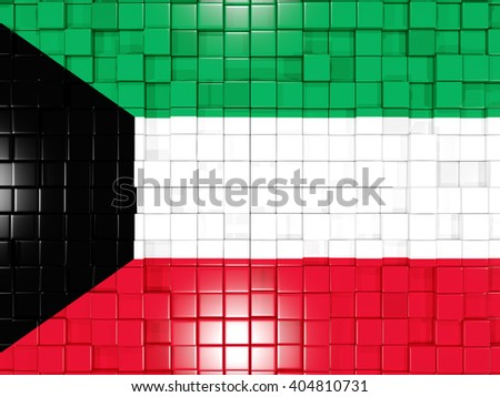 Mosaic background with square parts. Flag of kuwait. 3D illustration - stock photo