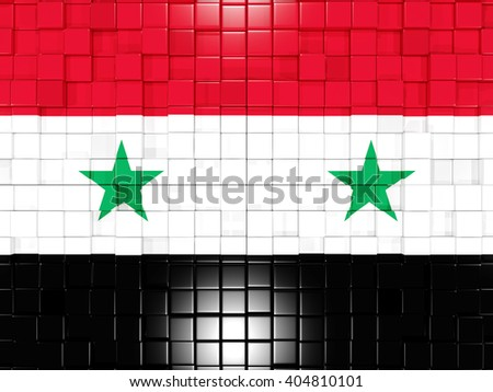 Mosaic background with square parts. Flag of syria. 3D illustration - stock photo