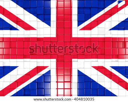 Mosaic background with square parts. Flag of united kingdom. 3D illustration