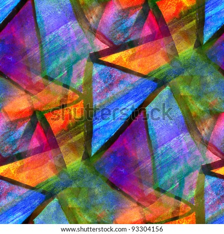 mosaic bright colorful pattern watercolor seamless background - stock photo