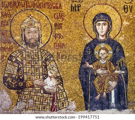 Mosaic byzantine icon of Virgin Mary and Saint Constantine in Hagia Sophia - greatest monument of Byzantine Culture, Istanbul, Turkey.