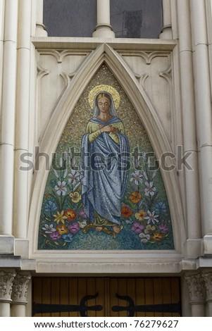 mosaic depicting the Virgin Mary - stock photo