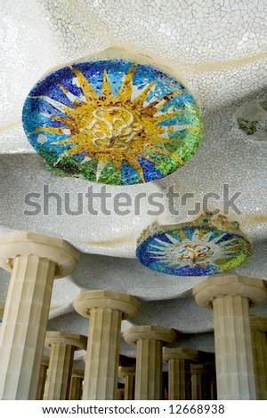 Mosaic detailes, Barcelona, Spain - stock photo