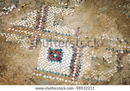 Mosaic floor in roman ruins of ancient Sufetula in Sbeitla town, Tunisia - stock photo