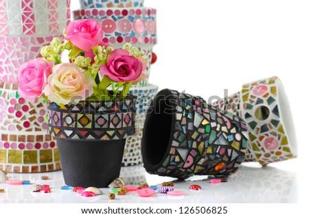 Mosaic flower pot - stock photo