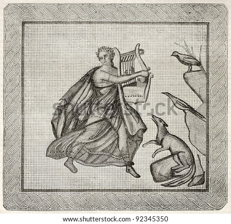 Mosaic found in Aix-en-Provence old illustration. After mosaic kept in Aix museum, published on Magasin Pittoresque, Paris, 1845 - stock photo