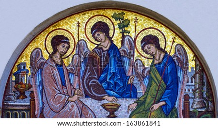 Mosaic icon of Holy Trinity in Orthodox Church, Budva, Montenegro - stock photo