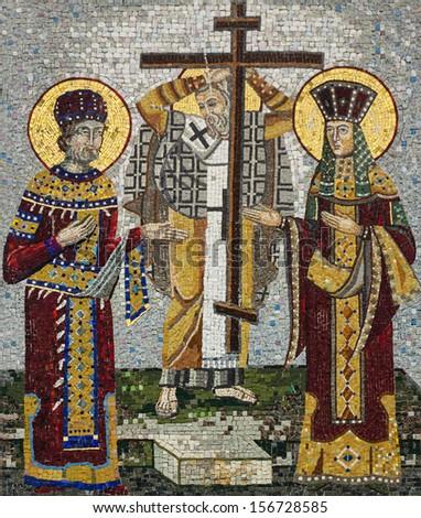 Mosaic icon of Saint Konstantin and Saint Helena in Serbian Orthodox Christian monastery Ostrog, Montenegro. Holy Cross Day. - stock photo