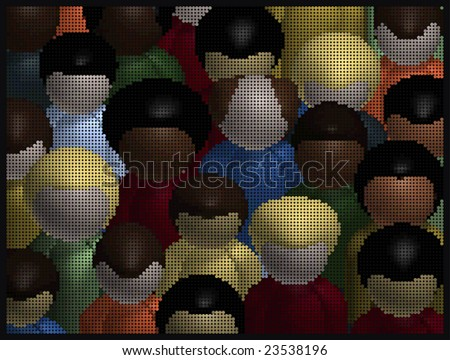 Mosaic image of a diverse crowd of people. - stock photo