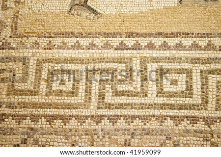 mosaic in Cyprus. The site is open to the public and photography is permitted. - stock photo