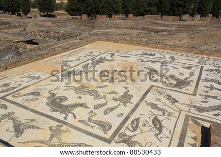 Mosaic in Italica - stock photo