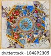 Mosaic in the park Guel in Barcelona, Spain - stock photo