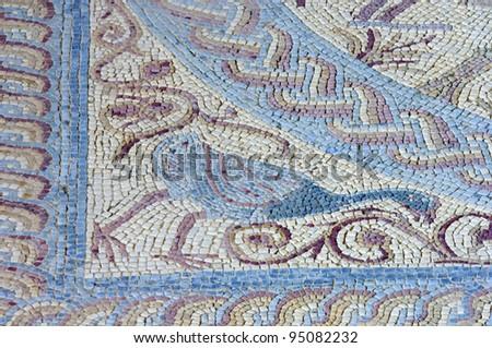 Mosaic in the Roman ruins of Conimbriga, Las Beiras, Portugal - stock photo