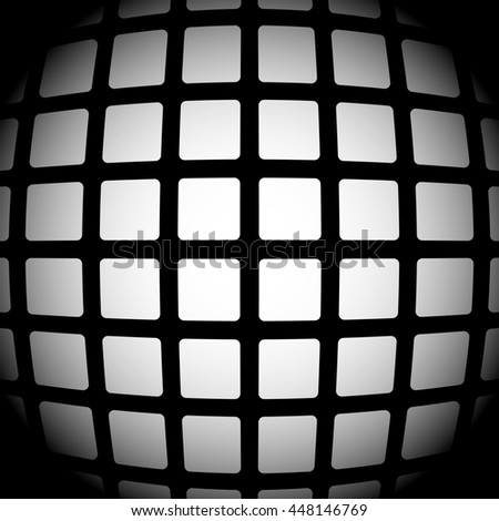 Mosaic, mesh of squares with salient, protuberant 3d distortion effect, fading 3d grid - stock photo