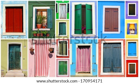 Mosaic of colorful windows and doors from the Italian island Burano  - stock photo