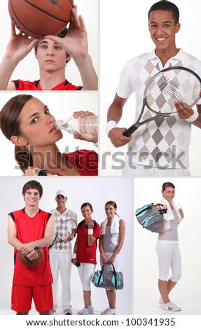 Mosaic of four teenager playing different sports - stock photo