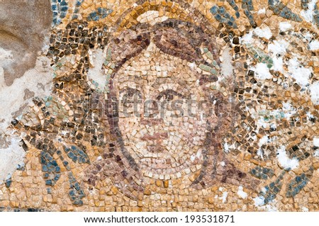 Mosaic of Hades at the Roman Baths in Salamis, Cyprus - stock photo