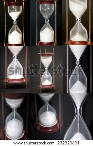 Mosaic of Hourglass on black background - stock photo