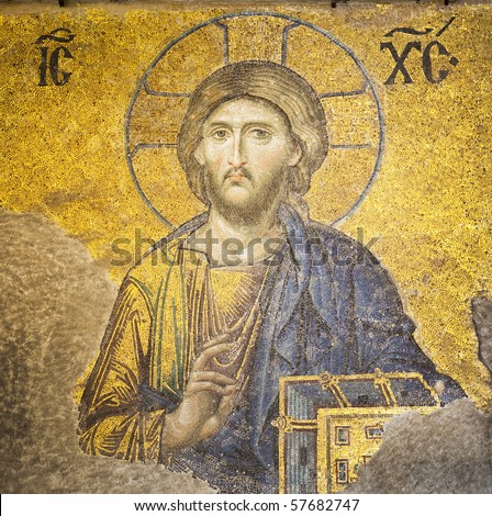 Mosaic of Jesus Christ found in the old church of Hagia Sophia in Istanbul, Turkey. - stock photo
