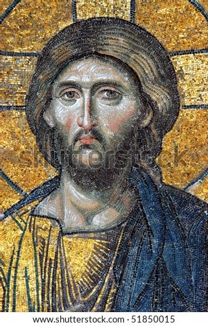 Mosaic of Jesus Christ in church of Hagia Sofia, Istanbul, Turkey - stock photo