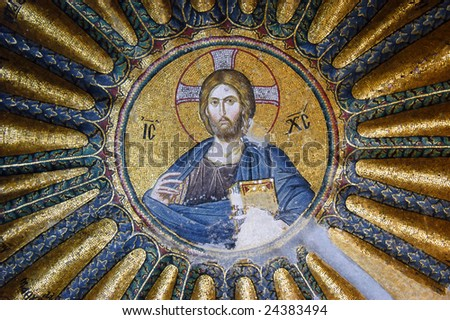 Mosaic of Jesus Christ in the Hora church, Istanbul, Turkey - stock photo