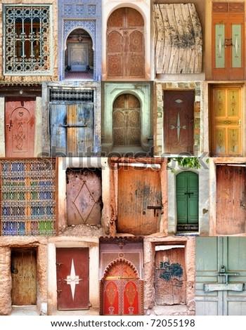 mosaic of old moroccan doorways - stock photo