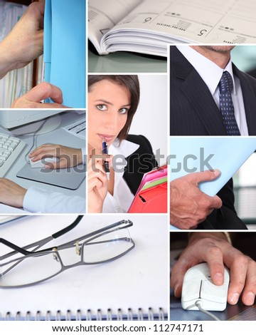 mosaic of pictures related to business - stock photo