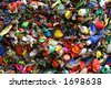 mosaic of plastic bottle tops - stock photo