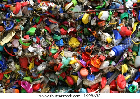 mosaic of plastic bottle tops - stock photo