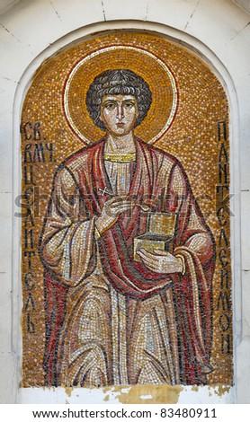 Mosaic of Saint Pantaleon. Orthodox church in Sevastopol Ukraine - stock photo
