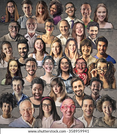 Mosaic of smiling people - stock photo