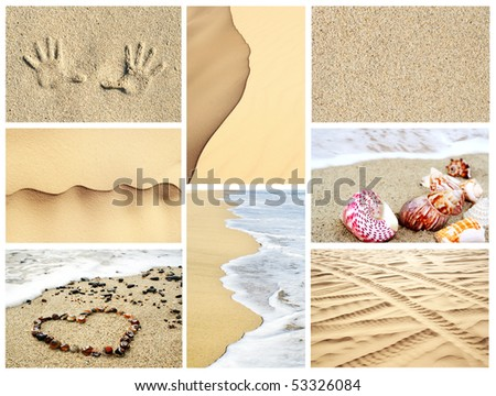 Mosaic of summer sand textures, backgrounds, and beach images - stock photo