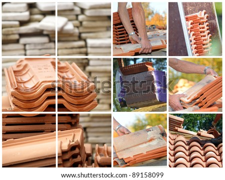 Mosaic of terracotta roof tiles - stock photo