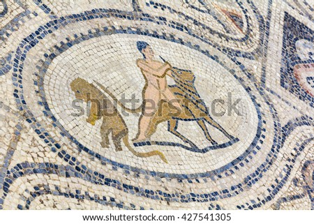 Mosaic of the 12 Labours of Hercules (detail) in roman town Volubilis, Morocco - stock photo