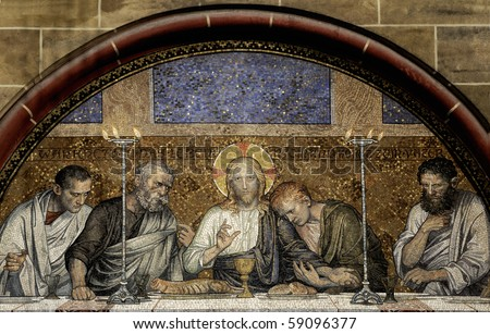 Mosaic of the Last Supper of Christ from Bremen Cathedral (Bremer Dom or St. Petri Dom zu Bremen). Great file for your Easter Card, Easter article or brochure. - stock photo