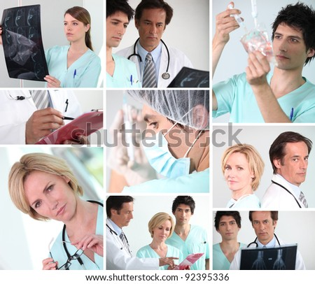 Mosaic of various hospital staff - stock photo