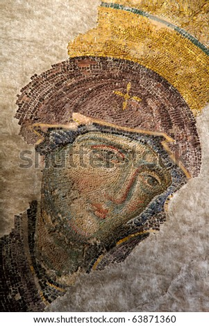 Mosaic of Virgin Mary in the church of Hagia Sofia, Istanbul, Turkey