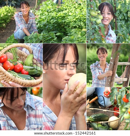 Mosaic of woman in vegetable garden - stock photo