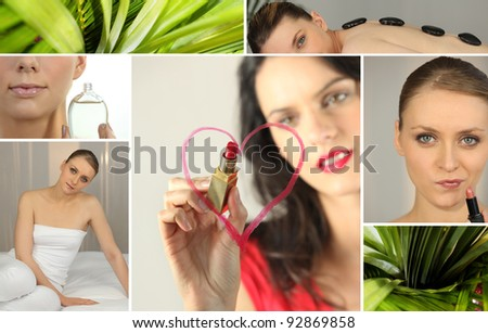Mosaic of woman using cosmetic products - stock photo