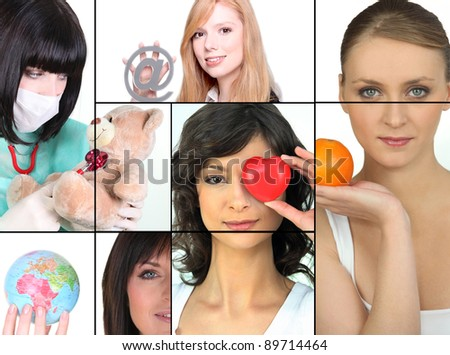 Mosaic of women holding various objects - stock photo